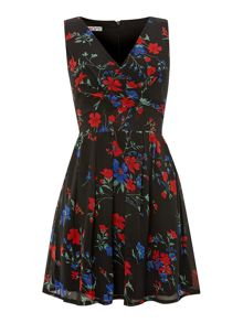 Round neck floral print fit and flare dress