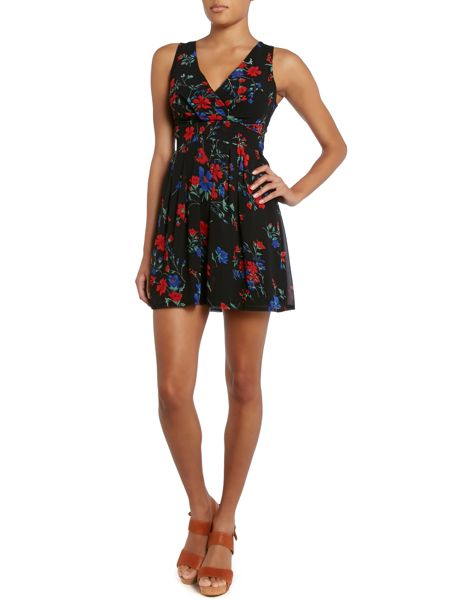 Wal-G Round neck floral print fit and flare dress