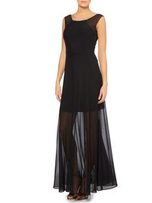 Jersey maxi dress with sheer skirt