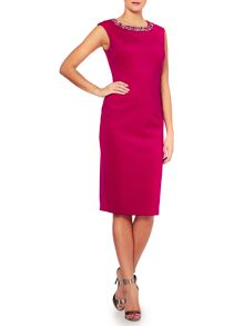 Midi scuba dress with embellished neck detail