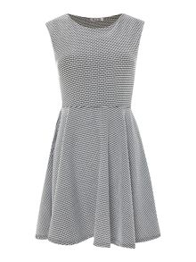 Short sleeve textured fit and flare dress