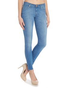 The skinny silk touch jeans in bright blue