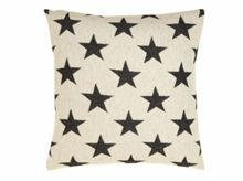 Antares Star cushion black on linen 40x40