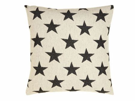Tori Murphy Antares Star cushion black on linen 40x40