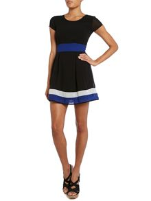 Colour block waist and hem fit and flare dress