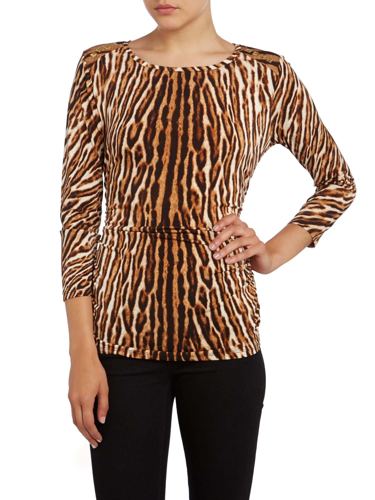 3/4 sleeved animal print top