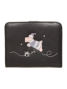 A christmas wish black medium zip around purse