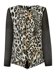 Leopard Printed Zip Back Blouse