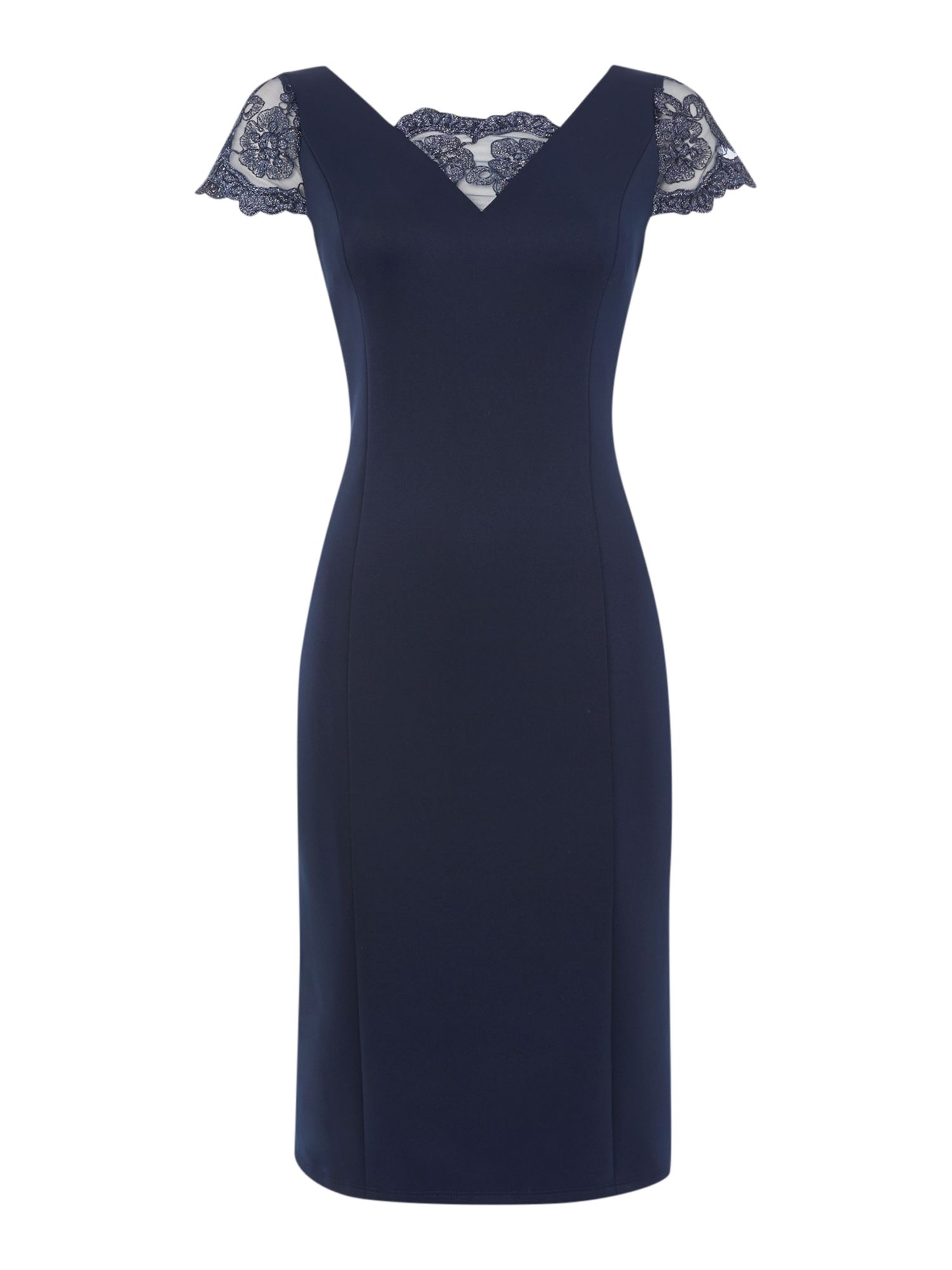 Shubette Shift dress with lace neckline, Navy