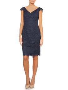 Cap sleeve guipere lace dress
