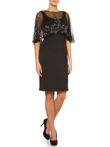 Shubette Scuba dress with sequin cape