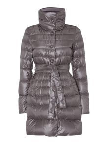 Club padded belted coat with shawl collar