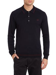 Raglan knitted tipped long sleeve polo shirt