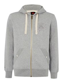 Zip through quilted hoodie