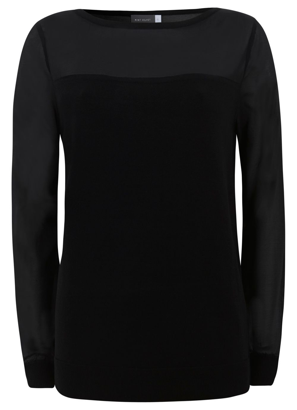 Black Sheer Sleeve Knit