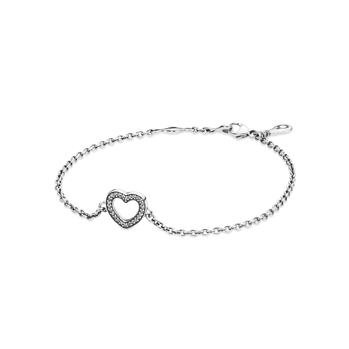 Heart silver bracelet with cubic zirconia