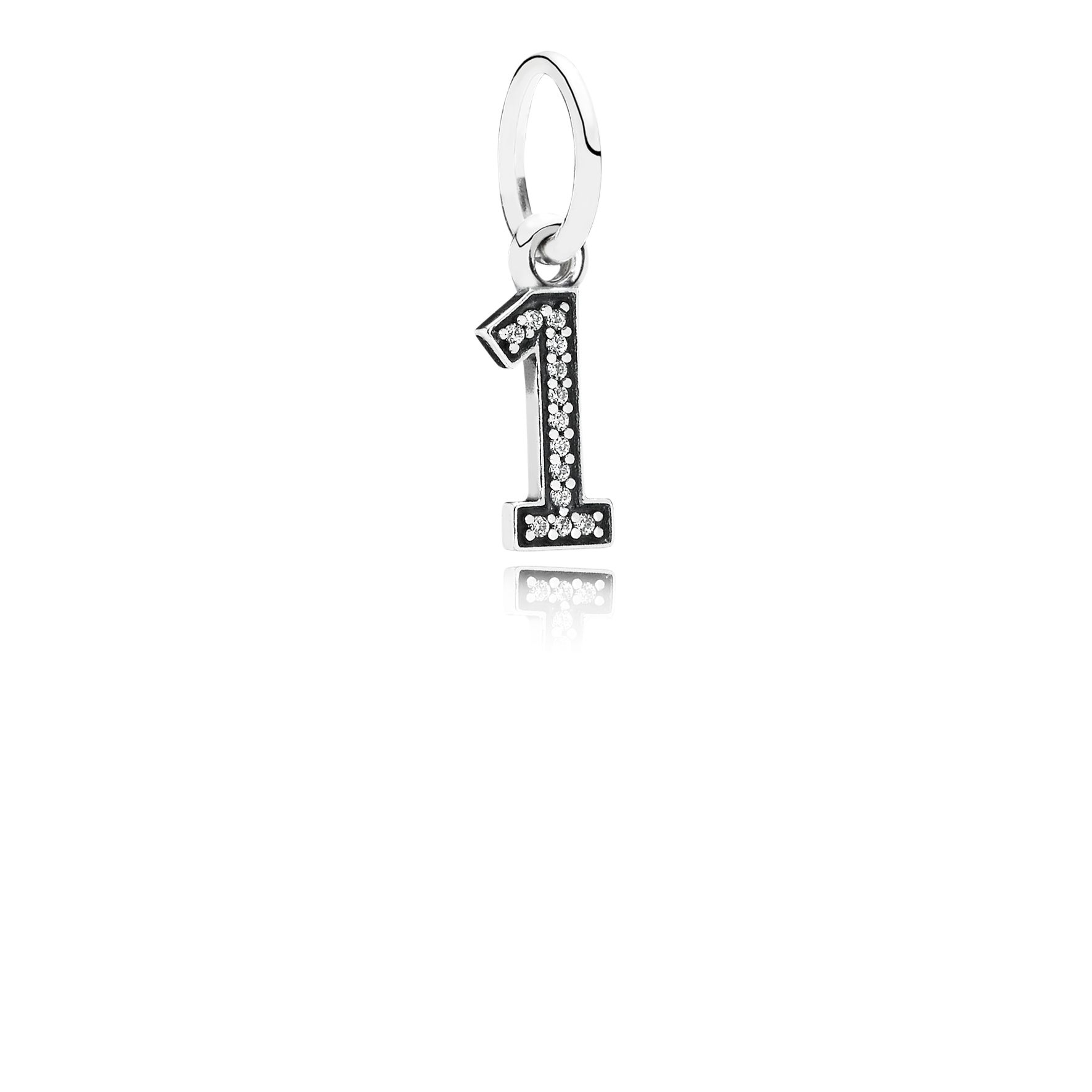 Number one silver dangle with cubic zirconia