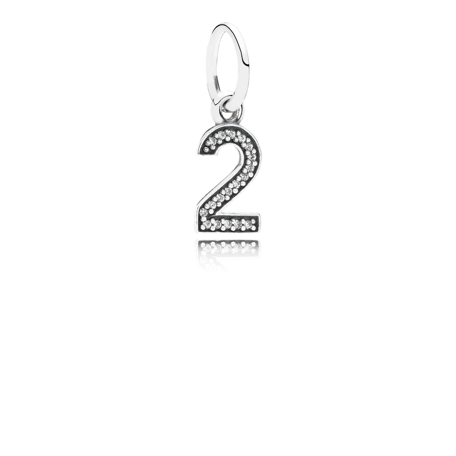 Number two silver dangle with cubic zirconia