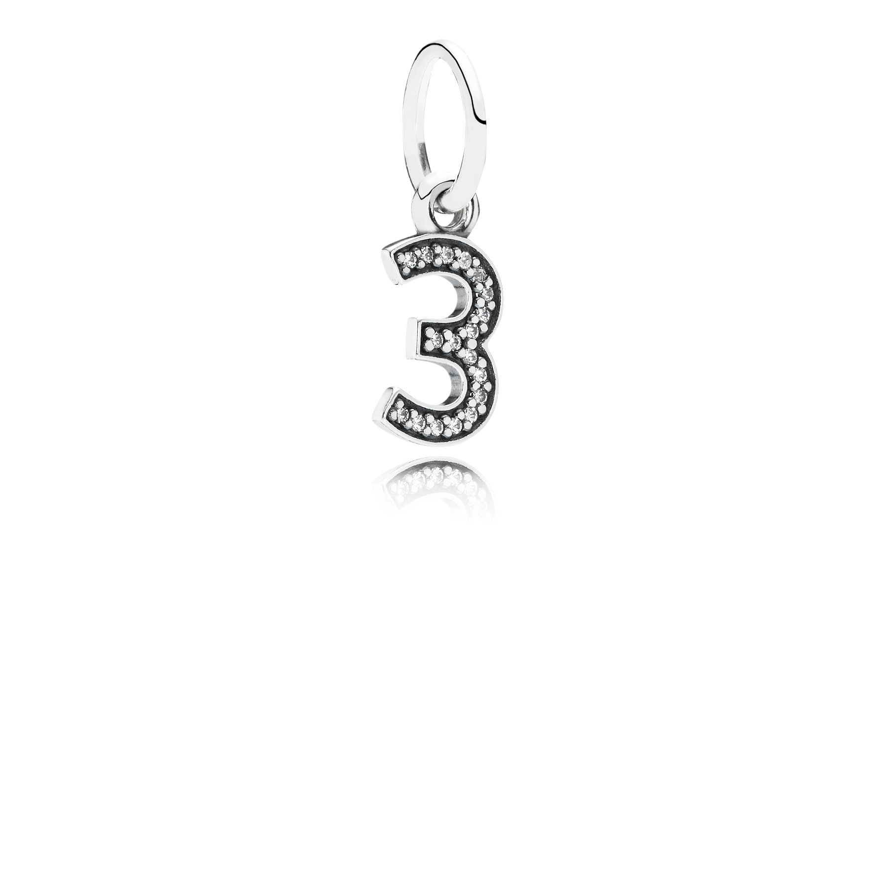 Number three silver dangle with cubic zirconia