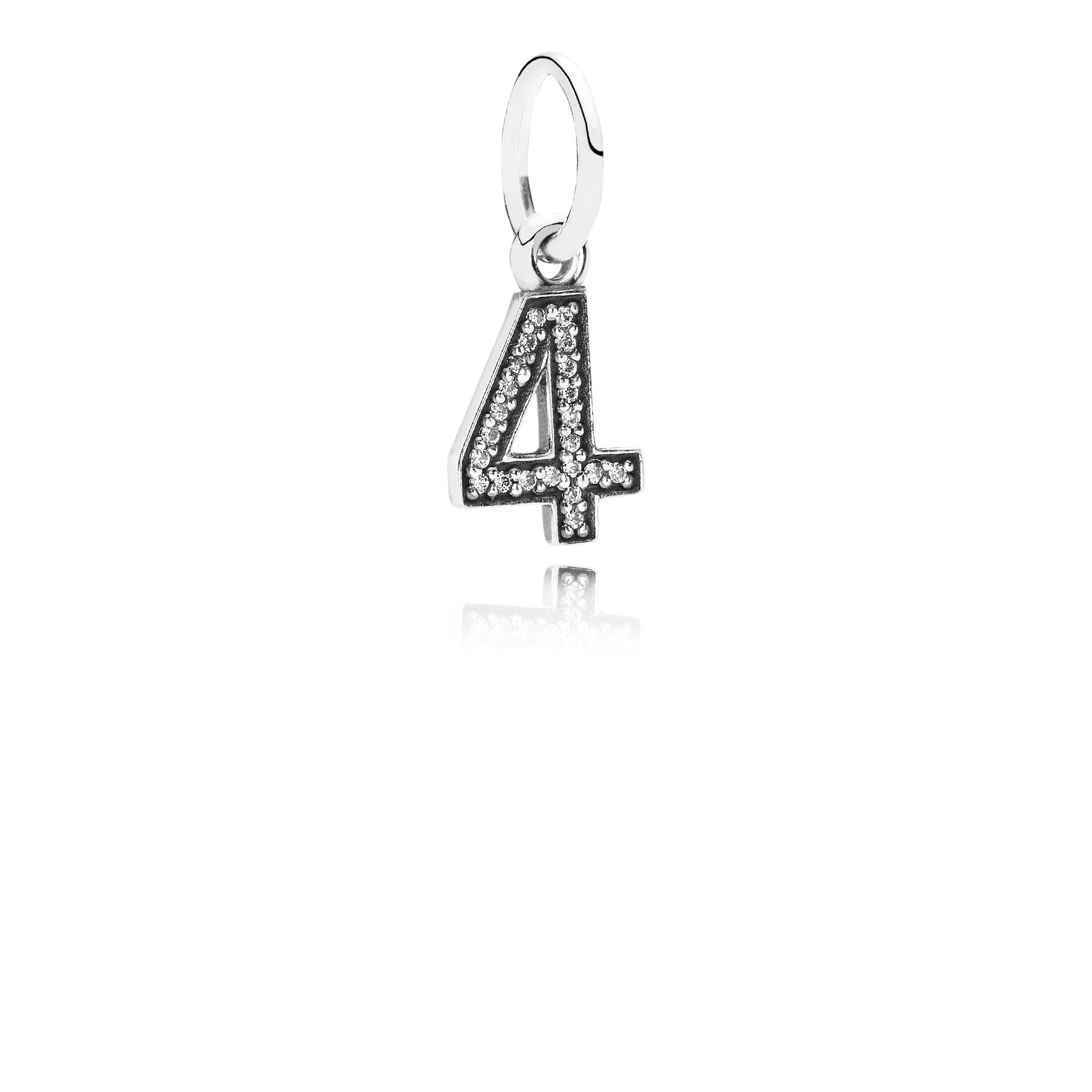 Number four silver dangle with cubic zirconia