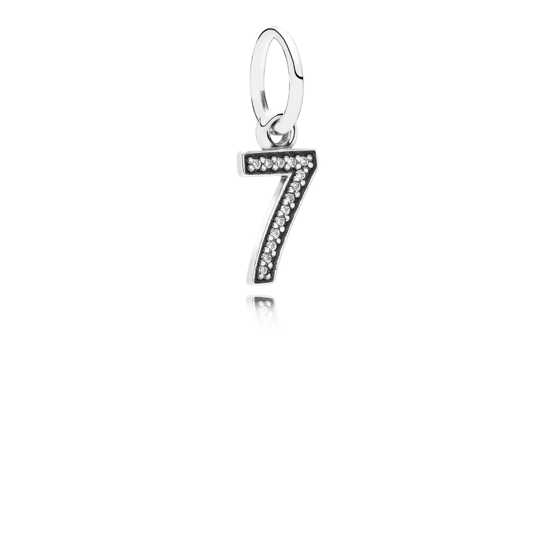 Number seven silver dangle with cubic zirconia