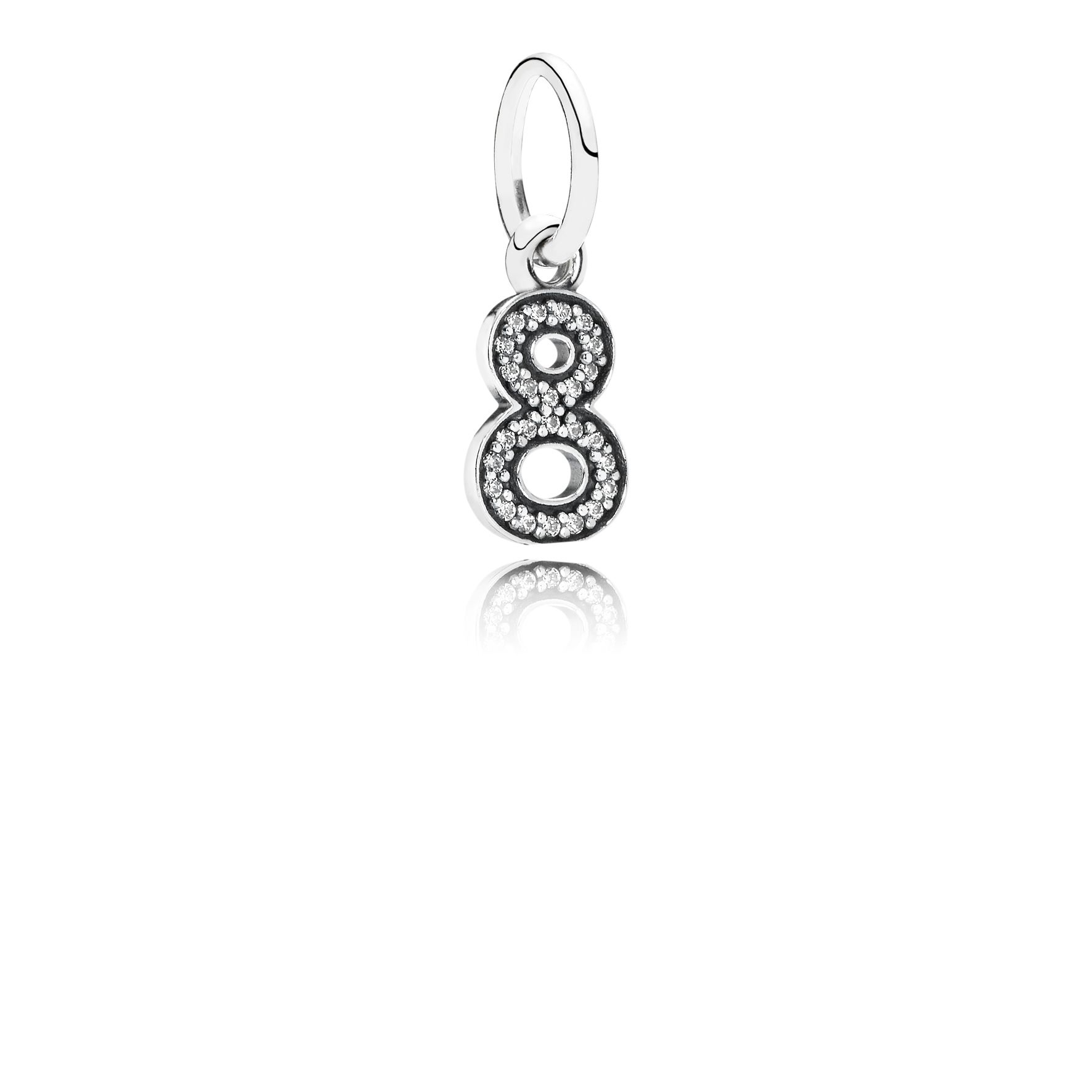 Number eight silver dangle with cubic zirconia