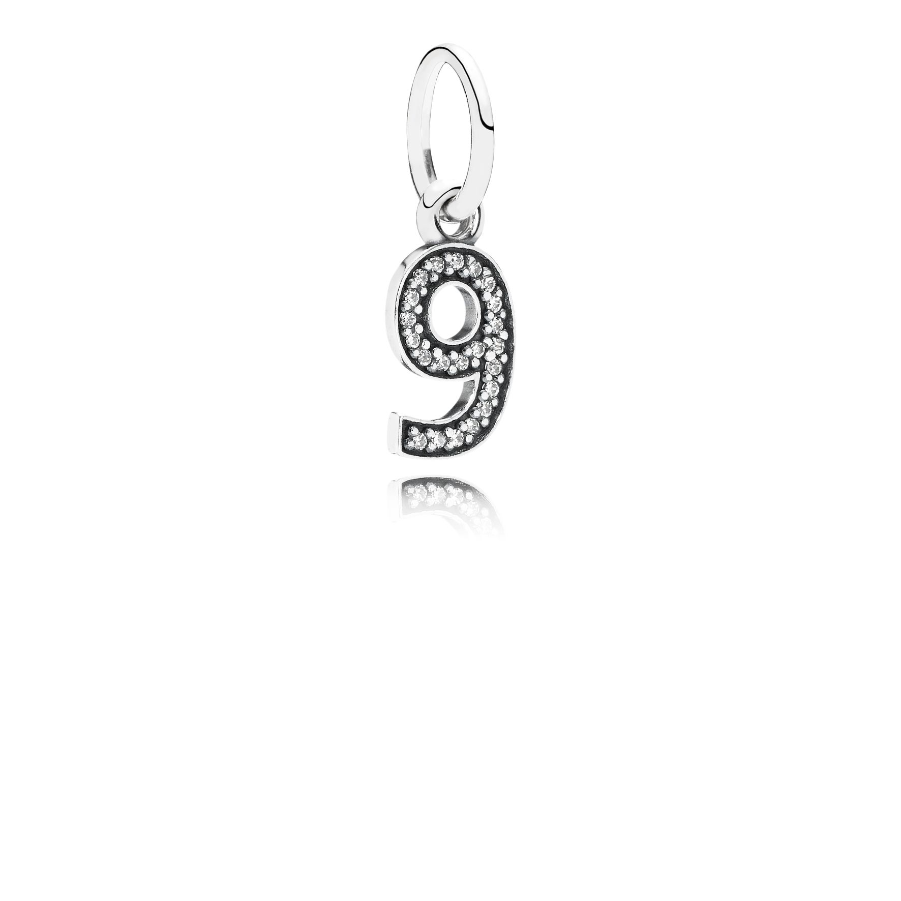 Number nine silver dangle with cubic zirconia