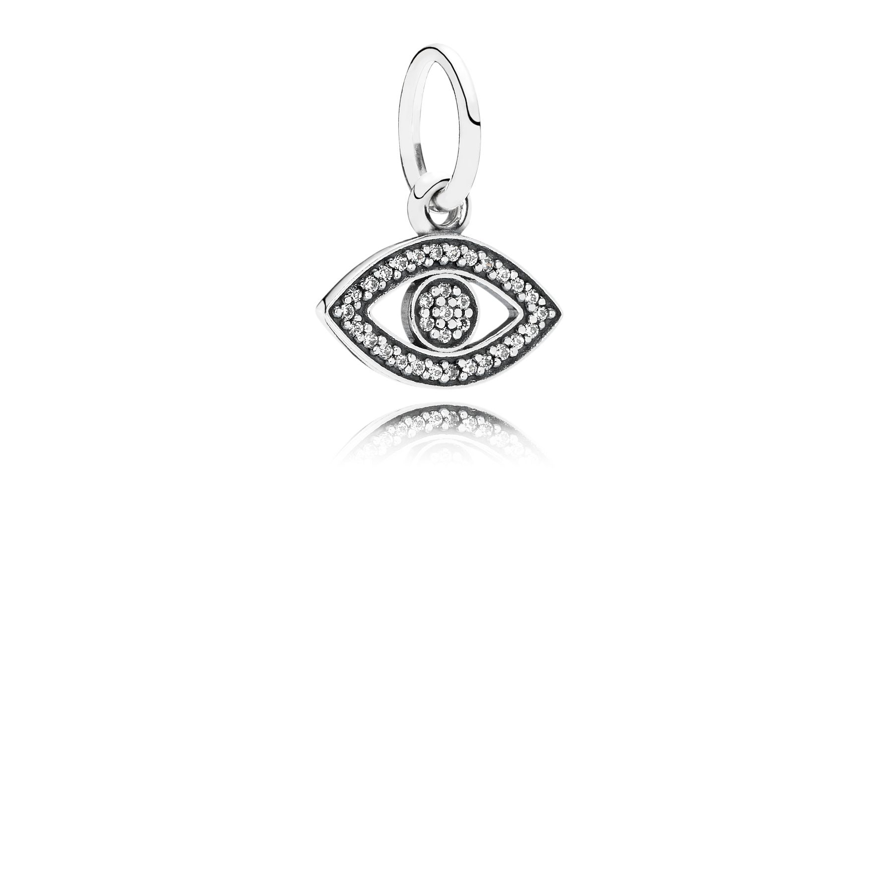 Eye silver dangle with cubic zirconia