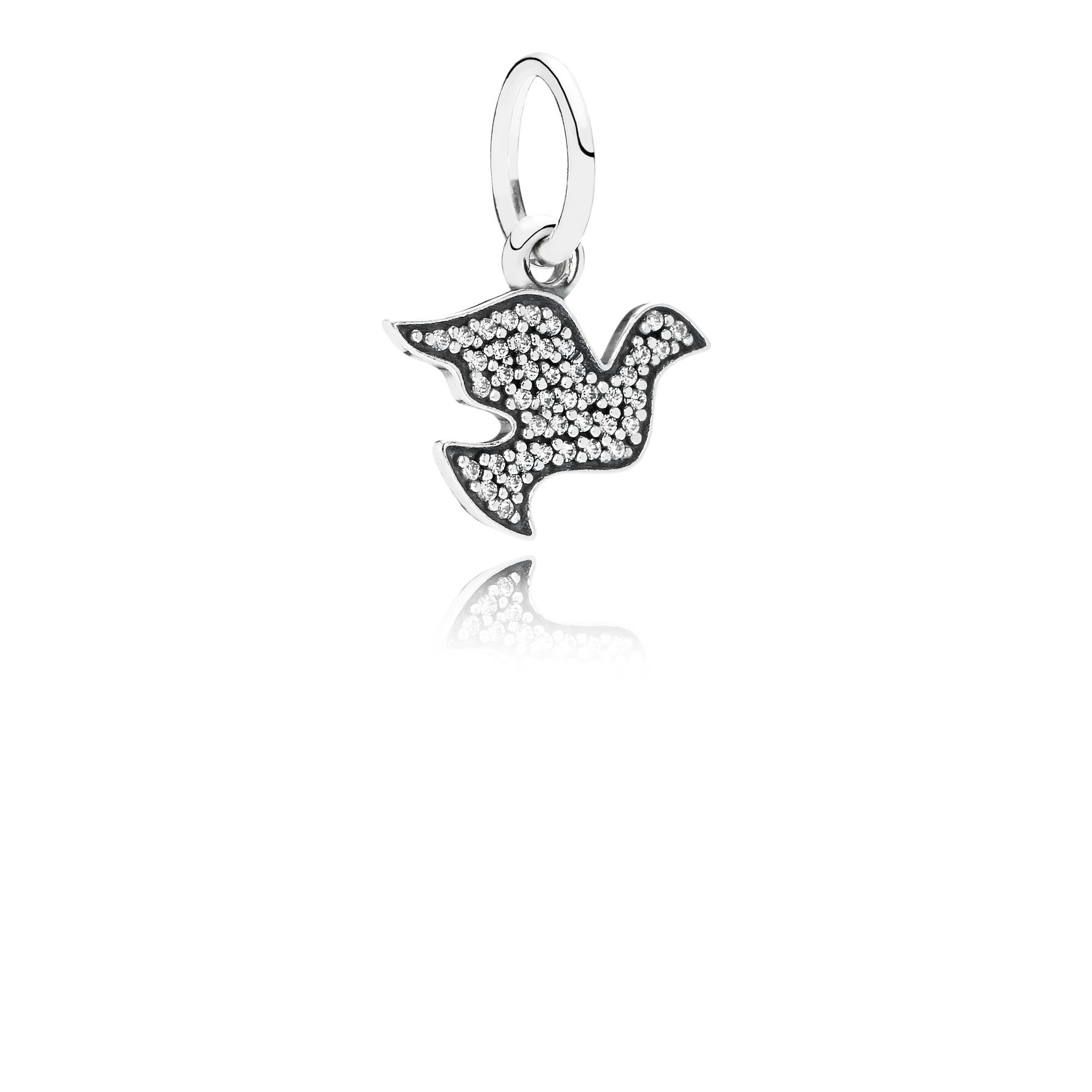 Dove silver dangle with cubic zirconia