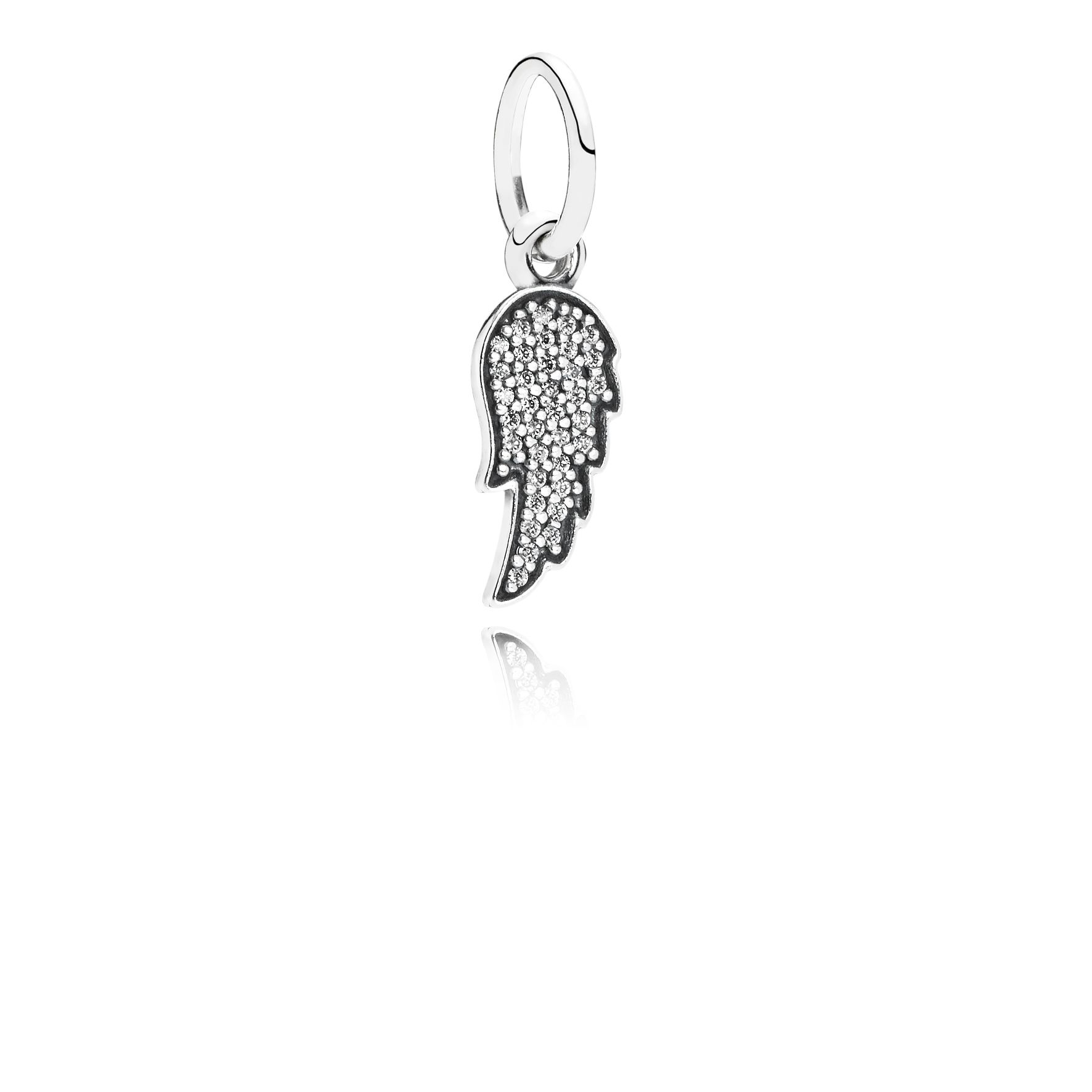 Angel wing silver dangle with cubic zirconia