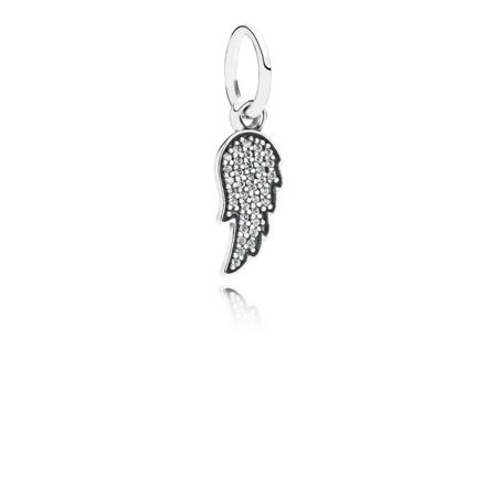 Pandora Angel wing silver dangle with cubic zirconia