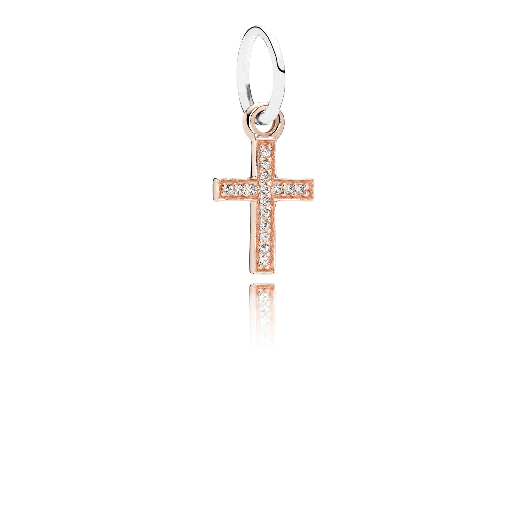 Cross rose gold dangle with silver and cubic zirc