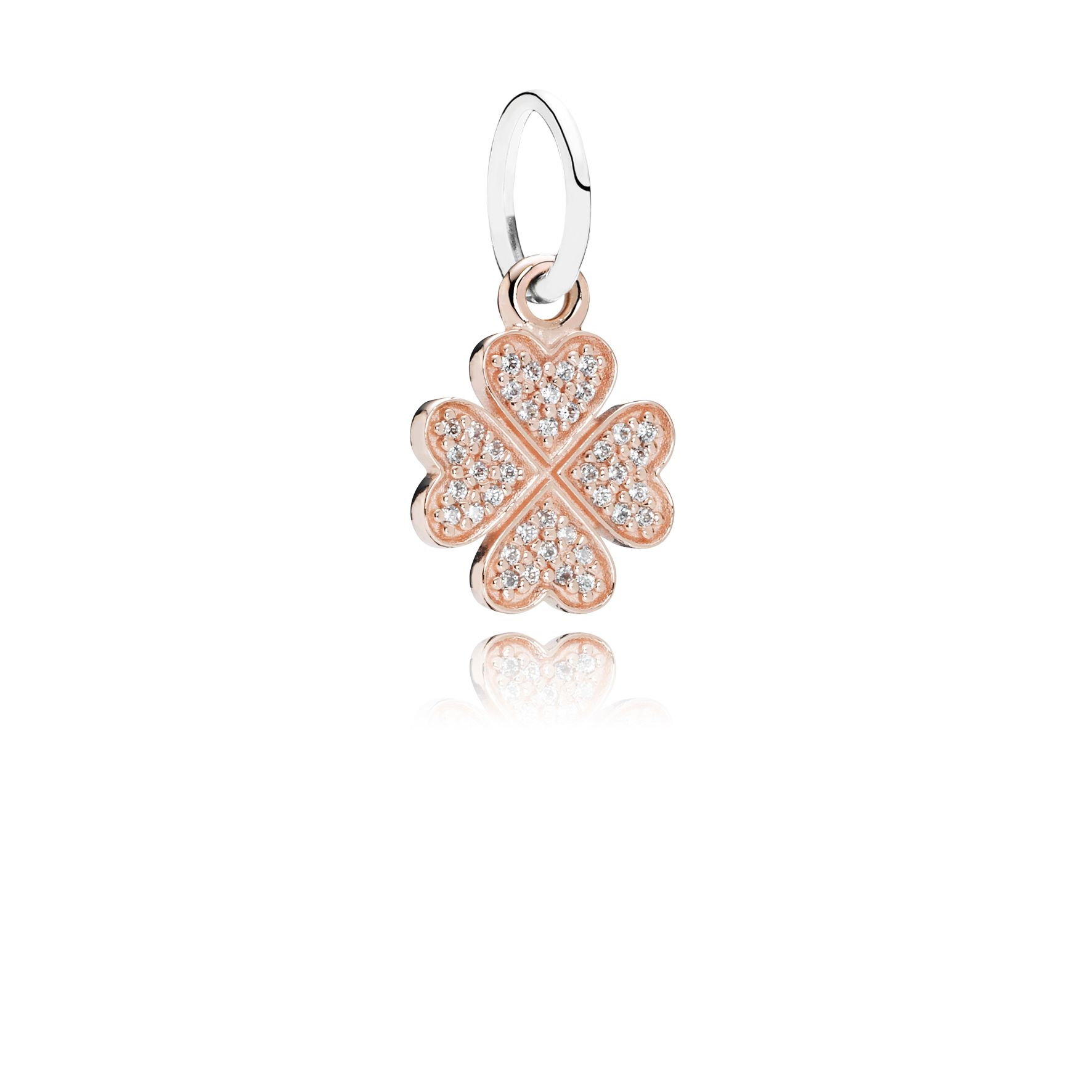 Clover rose gold dangle with silver and cubic zir