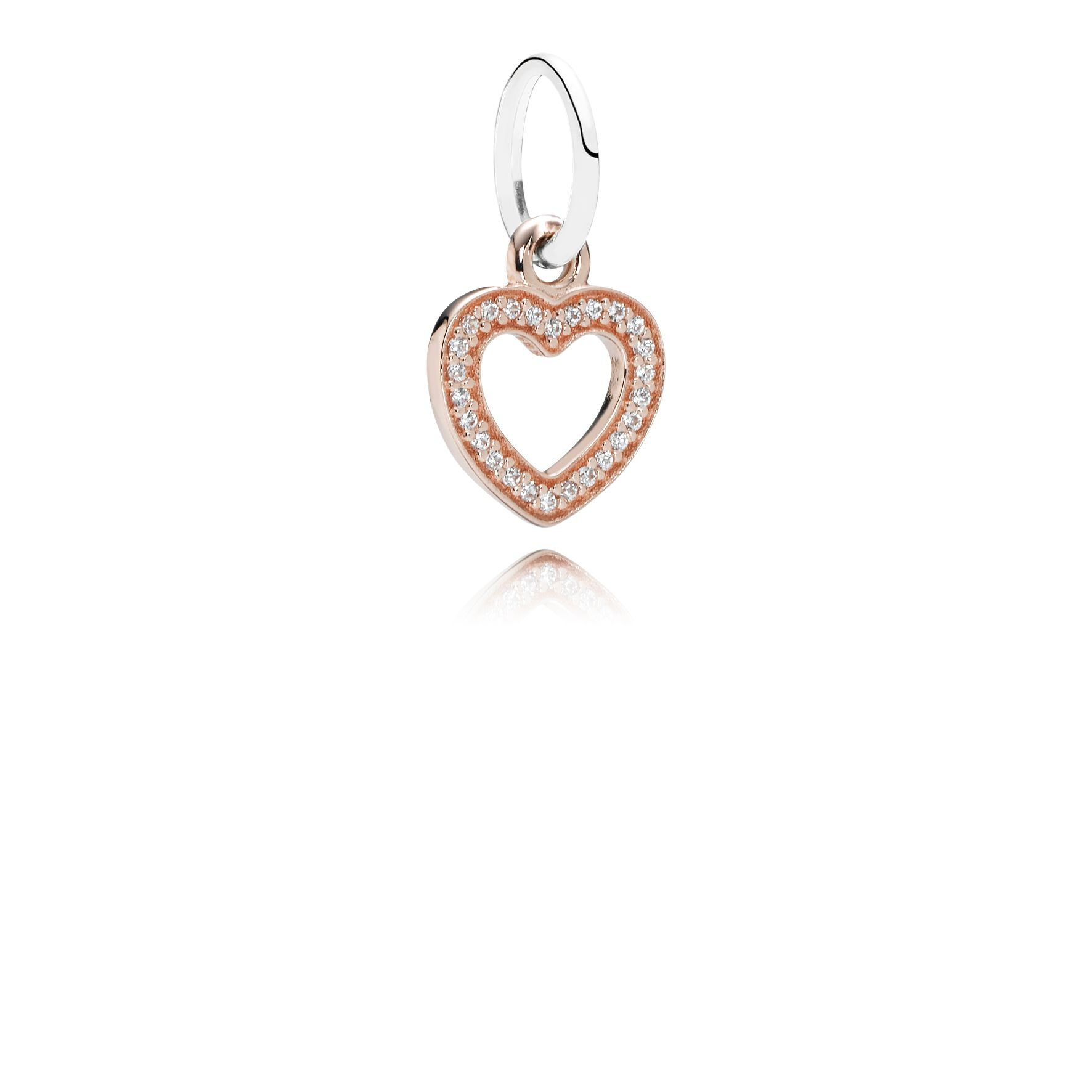 Heart rose gold dangle with silver and cubic zirc