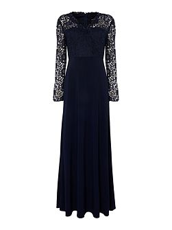3/4 sleeve guipure lace gown