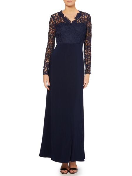JS Collections 3/4 sleeve guipure lace gown