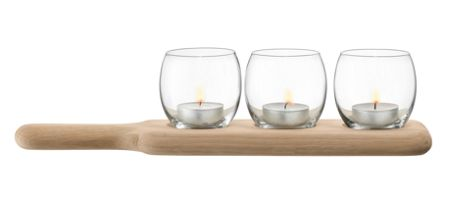 LSA Paddle Tealight Holder Set & Oak Paddle 34 Clear