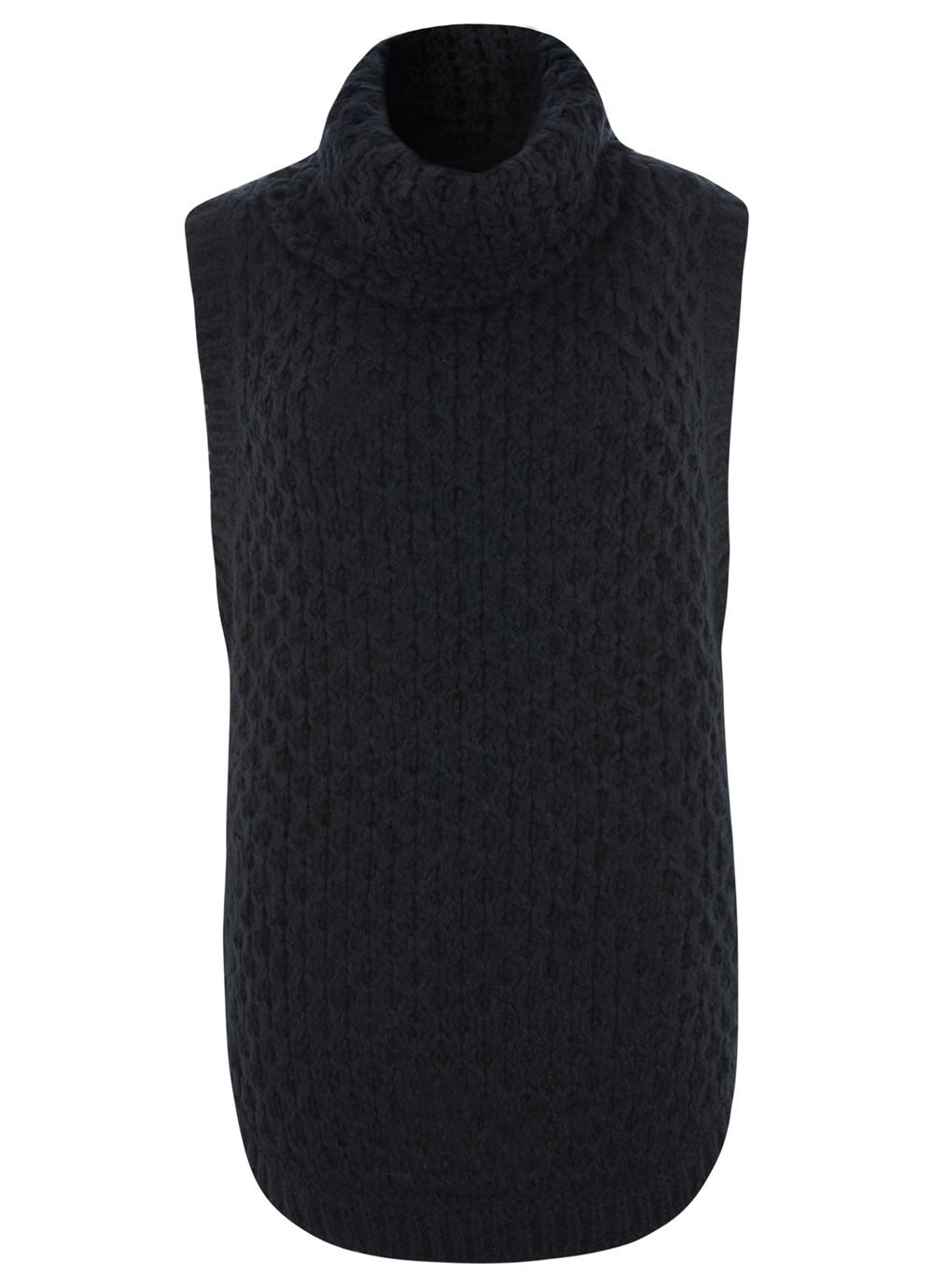 Navy Sleeveless Wavy Funnel Knit