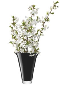 LSA Molten Vase Flare Height 28cm in Black