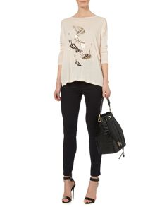 Flamingo placement print oversized t-shirt