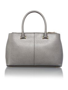 Saffiano grey metalic medium double zip tote bag