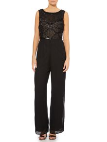 Sleevless jumpsuit with beaded bodice