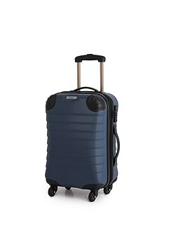 Shell denim blue 4 wheel hard cabin suitcase