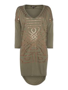Enlarged logo t-shirt tunic dress