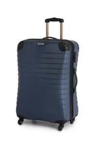 Linea Shell denim blue 4 wheel hard medium suitcase