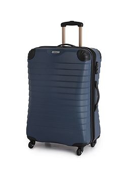 Shell denim blue 4 wheel hard medium suitcase