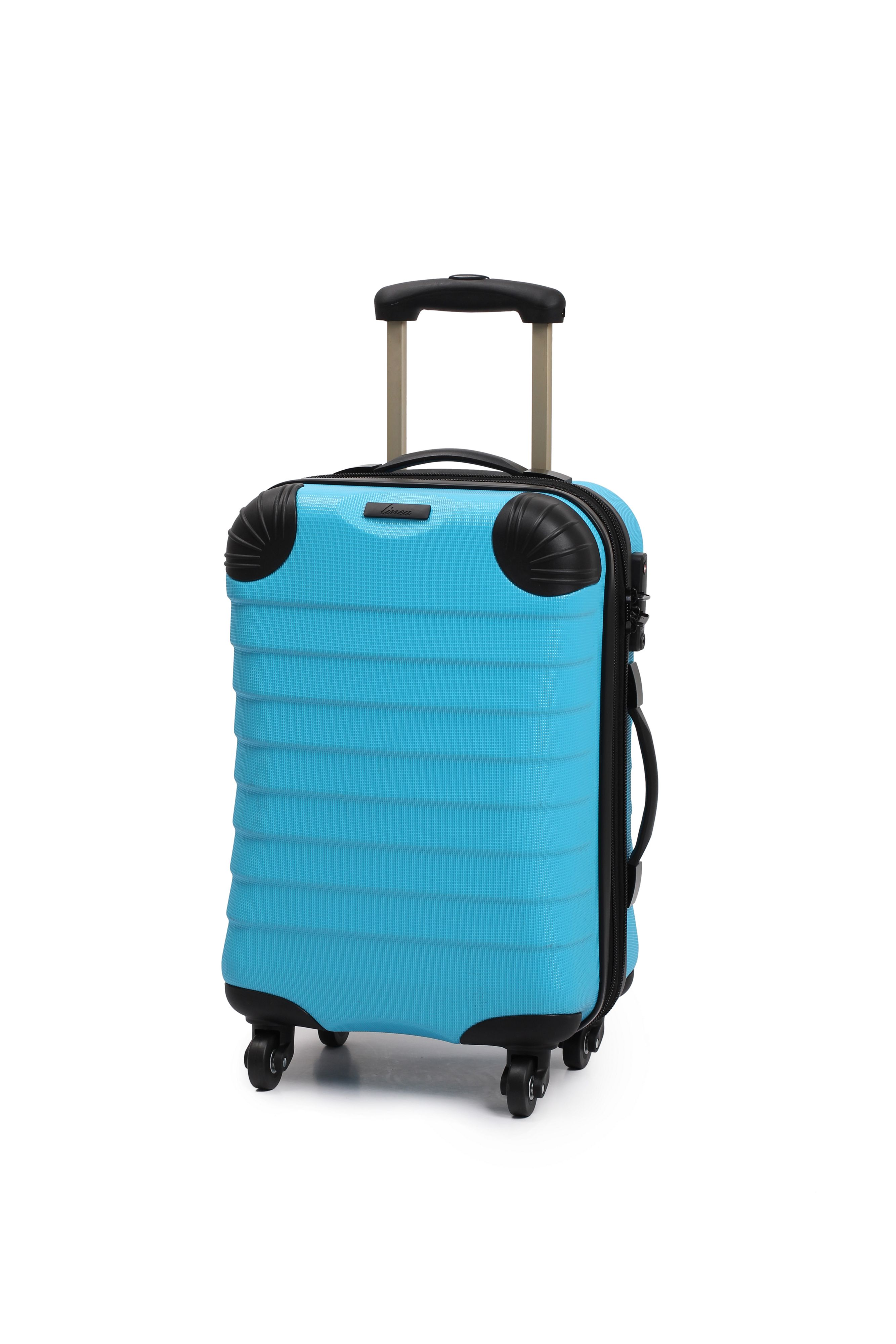 Linea Shell aqua 4 wheel hard cabin suitcase Aqua
