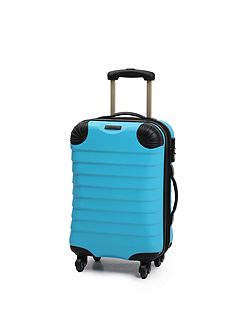 Shell aqua 4 wheel hard cabin suitcase