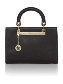 Saffiano black medium tote bag with detail