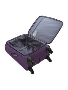 Hyperlite purple 4 wheel soft cabin suitcase